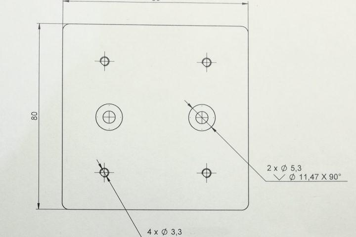 Plano en 2D de pieza
